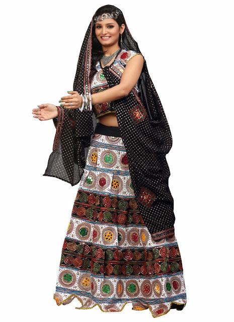 Black and white Chaniya Choli For Navratri Festival 2013