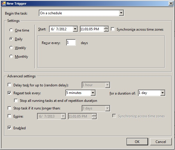 how to run batch file automatically every 5 minutes