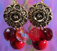 Antique Gold Flower Button Earrings with Red Czech Beads and Semi-precious Stones