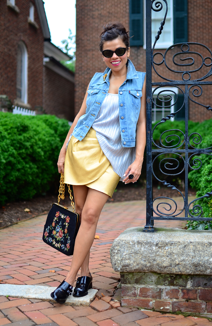 Gold Skirt Outfit Look