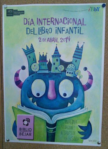 cartel anunciador de la actividad del dia del libro en las bibliotecas municipales de Béjar