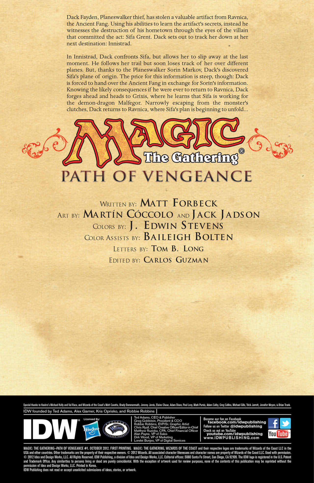 Read online Magic: The Gathering--Path of Vengeance comic -  Issue #1 - 2