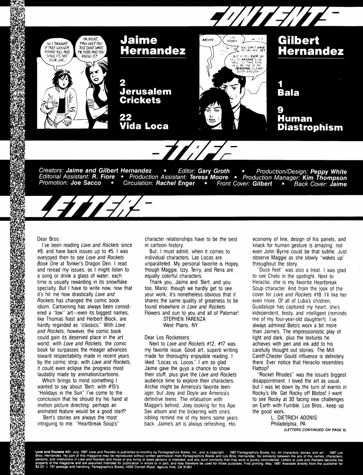 Love and Rockets (1982) Issue #21 #20 - English 2