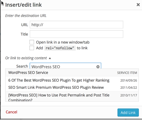 WordPress default search & interlink : eAskme