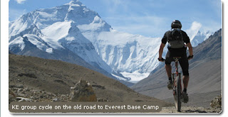 Mountain biking towards Everest's North side base camp