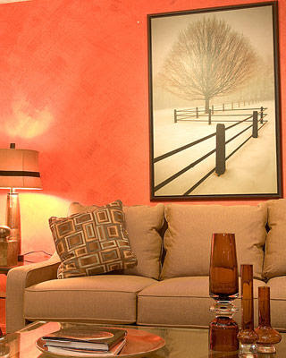 Interior design photos orange living room decor idea for Living room ideas orange