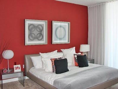 Interior design photos red wall modern bedroom interior - Bedroom with red accent wall ...