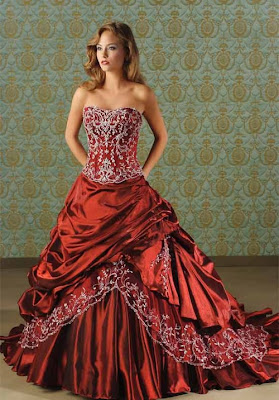 Elegant  Column Red Wedding Dresses