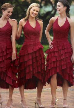 Raylia Bridesmaid Deep Red Dresses