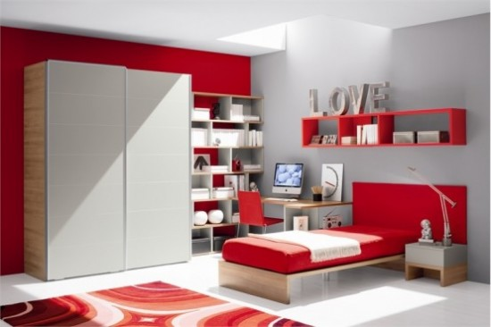 Interior design blog white and red attractive bedroom designs for Interior design for bedroom red