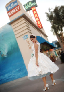 Tea-length wedding bridal gowns 2010 with classic 1950 style