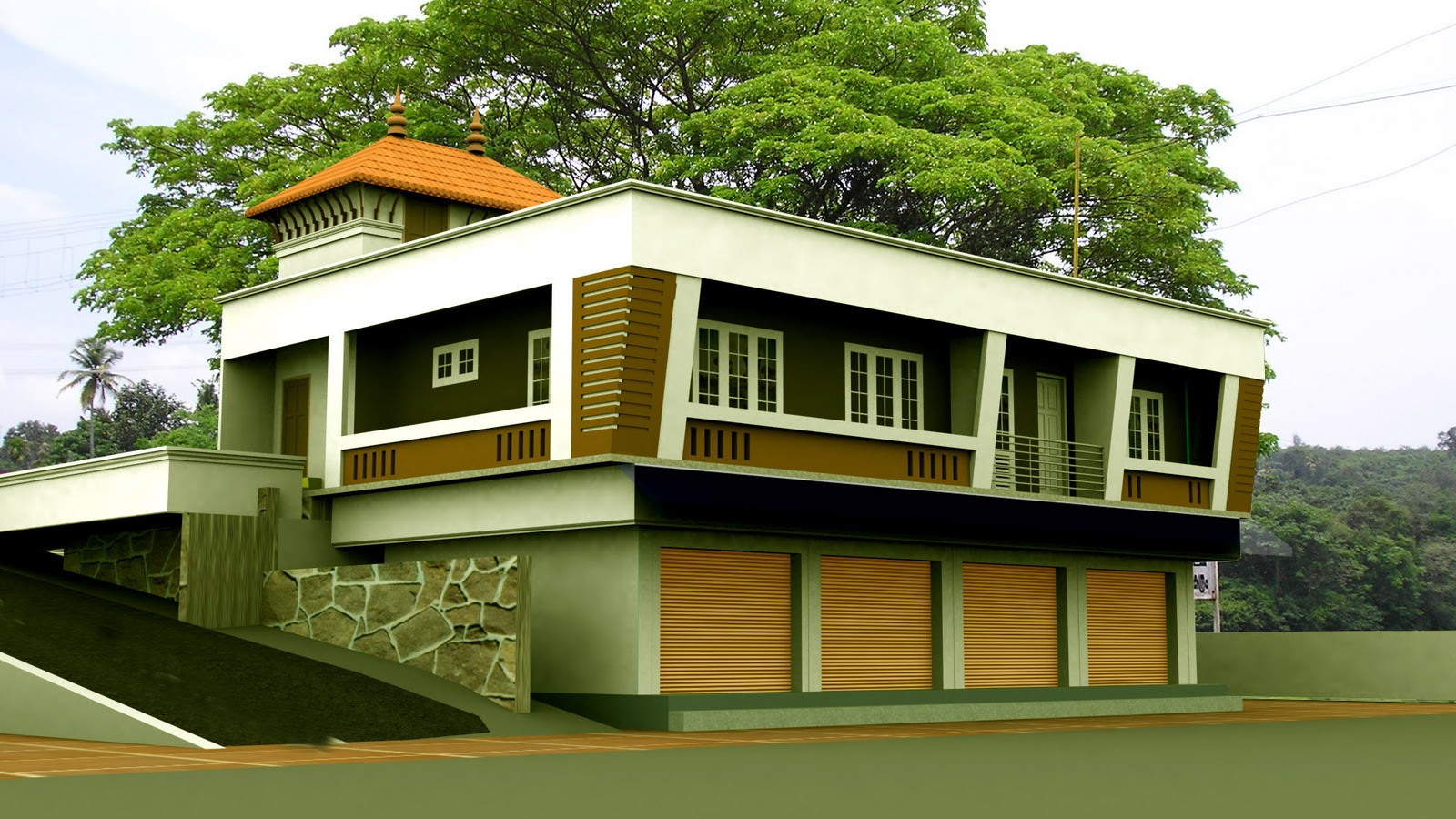3d view of a commercial &residential building
