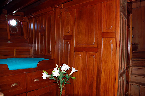 Main state room with single berth and wall panels :