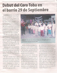Debut del Coro Toba en el barrio 29 de Septiembre