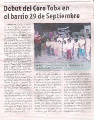 Debut del Coro Toba en el barrio 29 de Septiembre