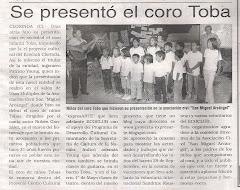 Se presentó el coro Toba