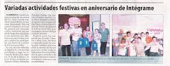 Variadas actividades festivas en aniversario de Integrame