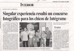 Singular experiencia resultó un concurso fotográfico para los chicos de Integrame
