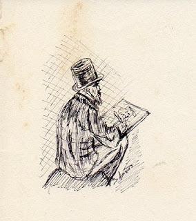 dessin à l'encre représentant un artiste