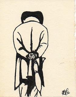 dessin à l'encre représentant un promeneur