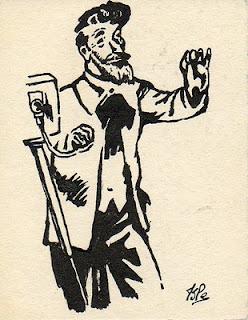 dessin à l'encre représentant un photographe