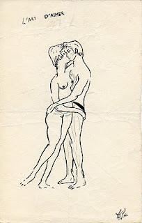 dessin à l'encre sur l'art aimer