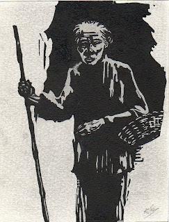 dessin à l'encre représentant un vietnamien