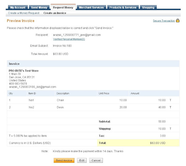 internet marketing: paypal invoicing - send profesional business, Invoice examples