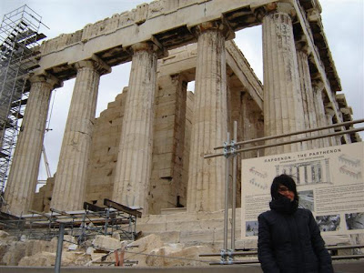 (This picture was taken in January 2005 in front of the Parthenon, it was a very cold and windy morning in Athens  and I was playing Severus  Snape...I have been remembering this  trip now because of the terrible fires in Greece, what a disaster!)