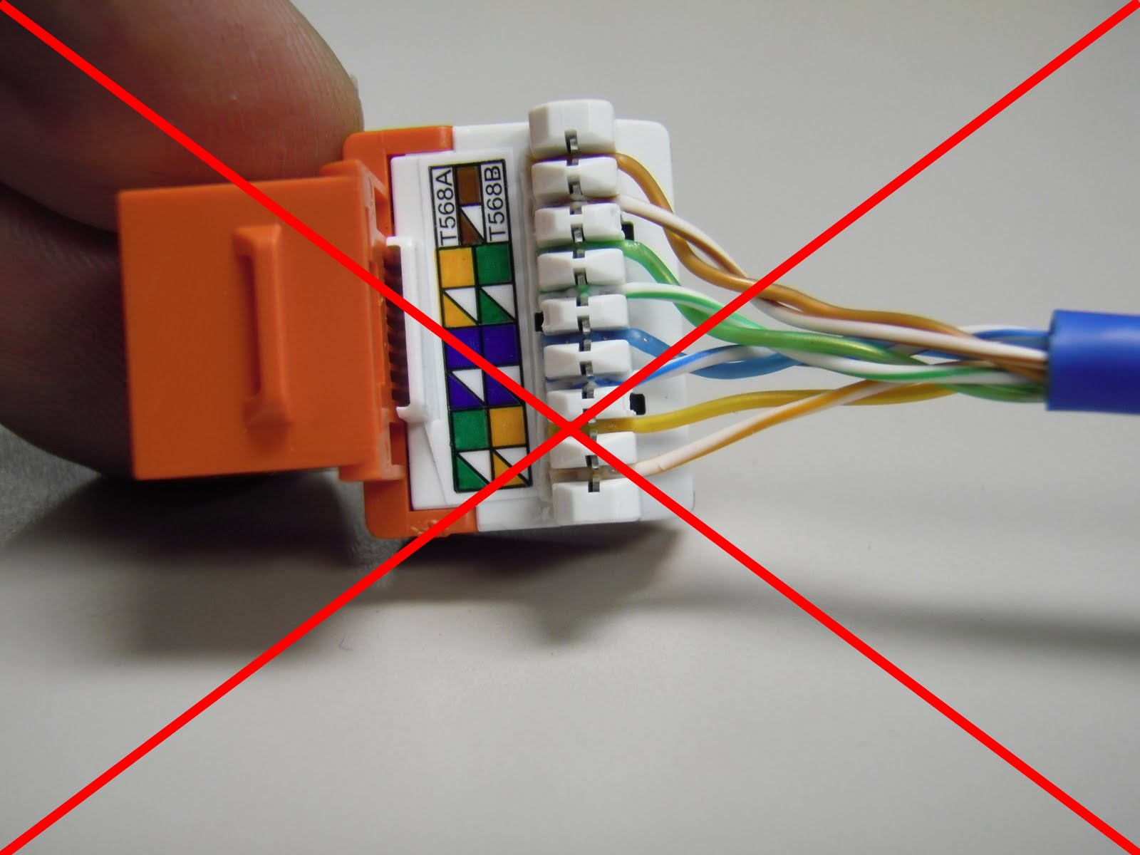 CAT5E+ER+JACK+PUNCHED+WRONG+RED+X the trench how to punch down cat5e cat6 keystone jacks cat 5 wiring diagram wall jack at crackthecode.co