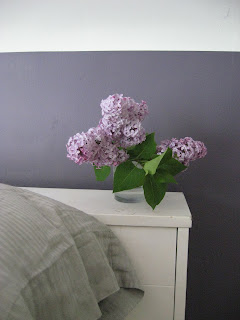 detail picture of small vase of purple lilacs against dark purple painted headboard