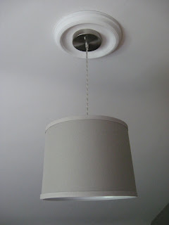 DIY drum pendant light with DIY ceiling medallion made from boob light