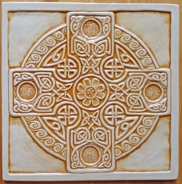 Decorative Handmade Ceramic Tile Celtic Cross Tile