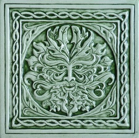 Decorative Handmade Ceramic Tile Green Man Ceramic Tile