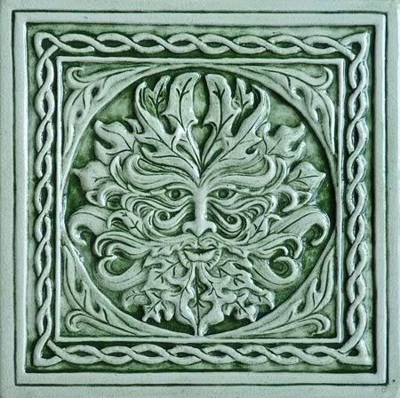 Decorative Handmade Ceramic Tile Green Man Ceramic Tile