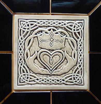 Decorative Handmade Ceramic Tile Celtic Claddagh Decorative Ceramic Tile