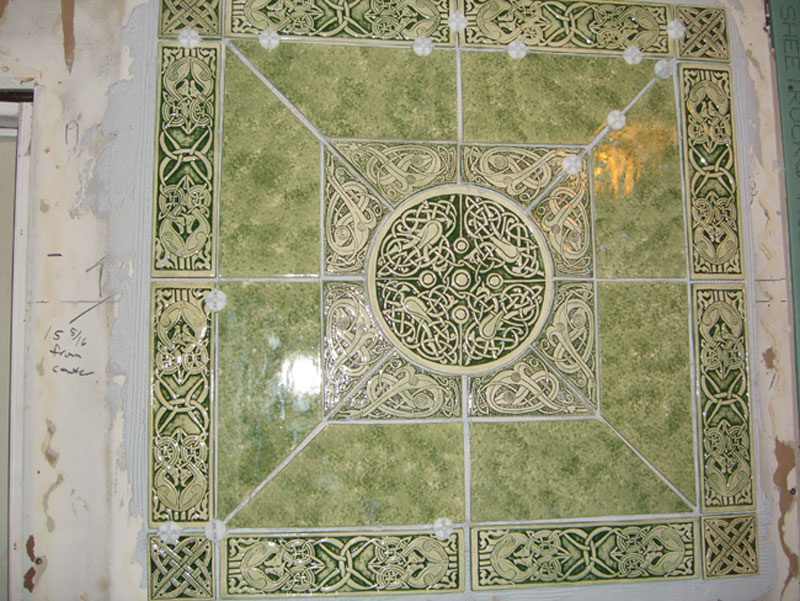 Handmade celtic ceramic tile installation