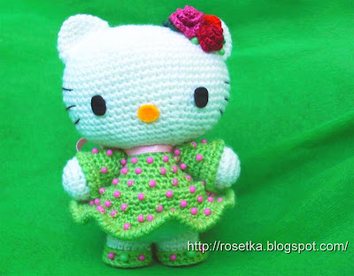 Схема та же, что и для Hello Kitty в платьице с розочками Вязала её...