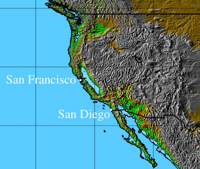 West Coast Of Us After An 80 Meter Rise In Sea Levels