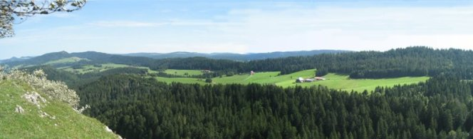 Paysage des montagnes du Jura Franco-Suisse