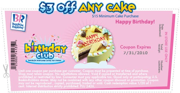 Baskin Robbins  Off Cake Coupon