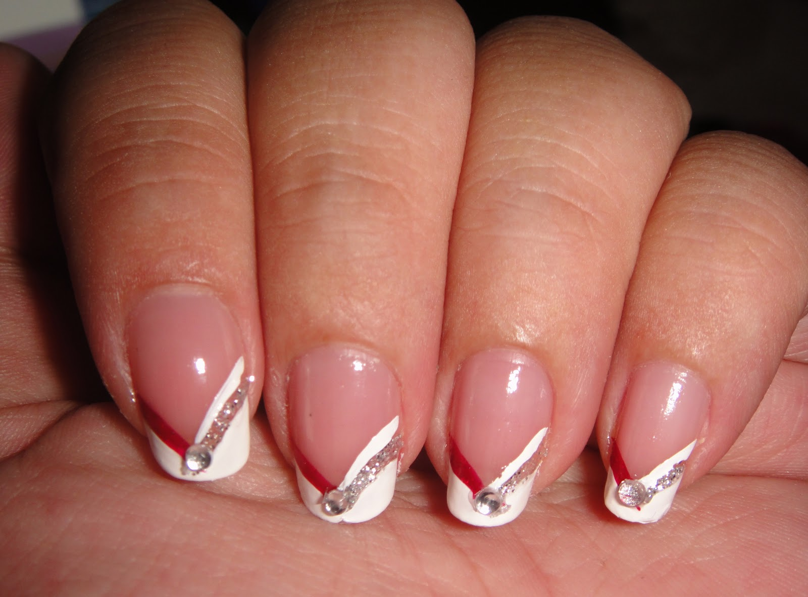 Juicy Nails & Makeup!: Red & Silver Chevron French + Fall Nail ...