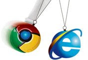 Trademarks for Google's Chrome (l) and Microsoft's Internet Explorer