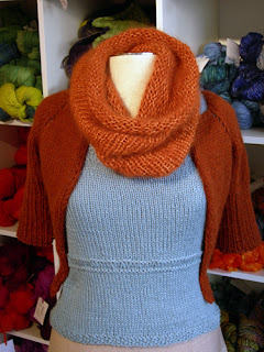 cowl knit with Suri Alpaca yarn and Pure Silk yarn