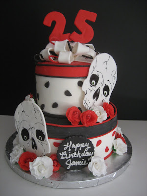 Happy 25th Birthday To My Beautiful Daughter This Cake Depicts Her Most Recent Tattoo Red And White Roses Skulls All Done In Fondant