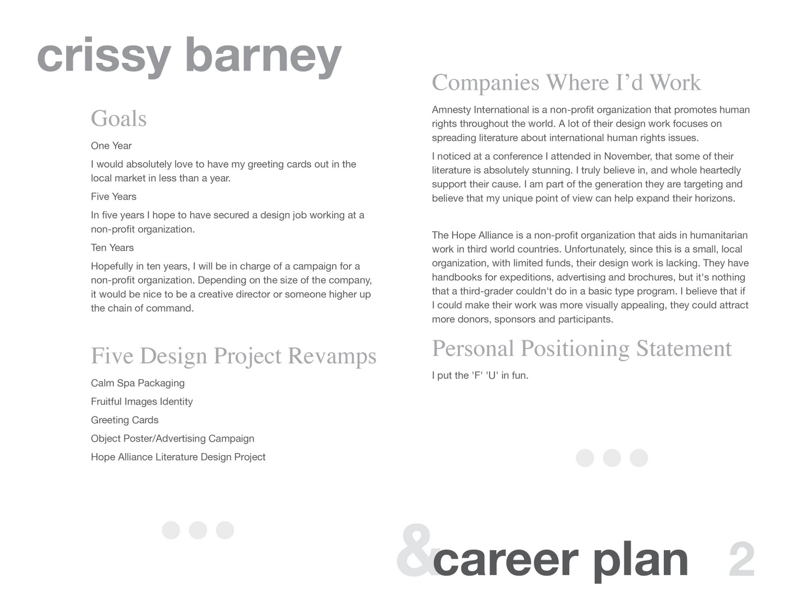 crissy s portfolio design profession career summary brief design profession career summary brief