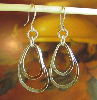 sterling silver organic hoop earrings jewelry etsy