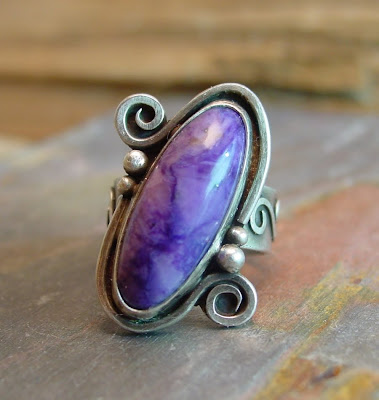 charoite purple sterling ring
