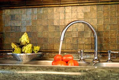 Kitchen Backsplash Copper and Limestone