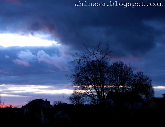 темное небо, закат, облака